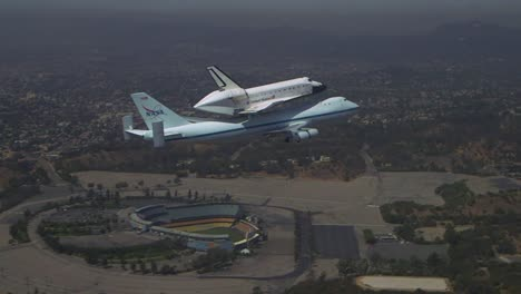 The-Final-Voyage-Of-Space-Shuttle-Enterprise-Flying-Over-Los-Angeles-Dodger-Stadium