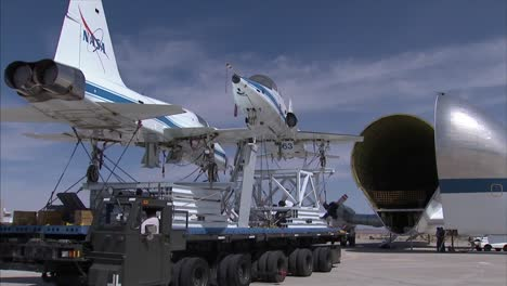 Two-T38-Jet-Planes-Are-Retired-By-Being-Placed-Inside-A-Super-Guppy-Transport-Plane-At-Dryden-Air-Force-Base-3