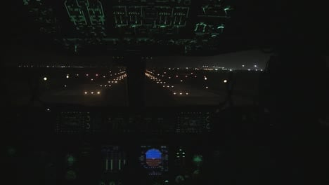 Point-Of-View-Of-A-Commercial-Airplane-Taking-Off-At-Night