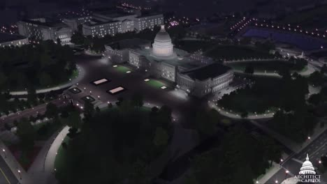 An-Animated-Fly-By-Of-The-United-States-Capitol-Building-In-Washington-Dc-At-Night