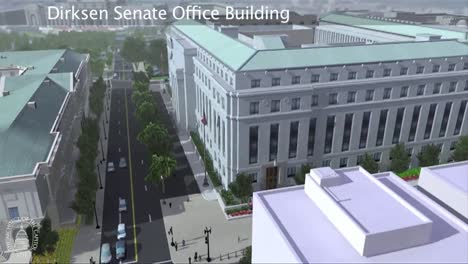 An-Animated-Fly-By-Of-The-United-States-Capitol-Building-In-Washington-Dc-Focusing-On-The-Russell-Senate-Office-Building-1