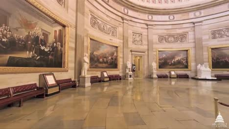 A-Panning-Wide-Angle-Shot-Around-The-Rotunda-At-The-Us-Capitol-Building-In-Washington-Dc