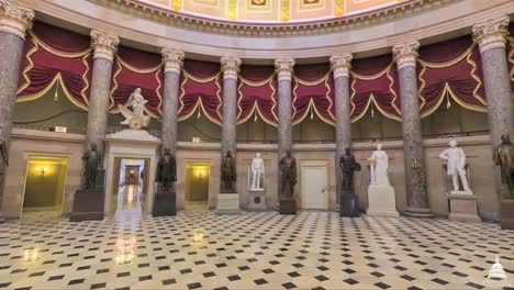 A-Panning-Wide-Angle-Shot-Around-The-National-Statuary-Hall-At-The-Us-Capitol-Building-In-Washington-Dc