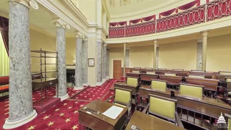 A-Panning-Wide-Angle-Shot-Around-The-Old-Senate-Chamber-At-The-Us-Capitol-Building-In-Washington-Dc