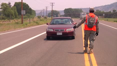 The-Colorado-National-Guard-Monitors-Vehicle-Traffic-On-Roads-During-The-West-Fork-Complex-Fire