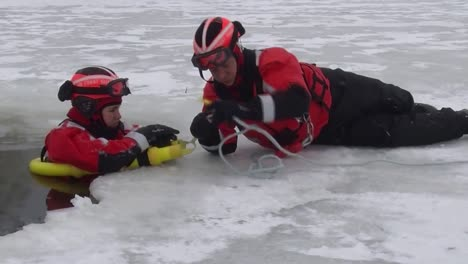 The-Coast-Guard-Demonstrates-An-Emergency-Ice-Rescue-In-Fast-Motion