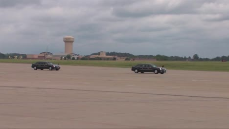 President-Barack-Obamas-Motorcade-Arrives-At-Air-Force-One
