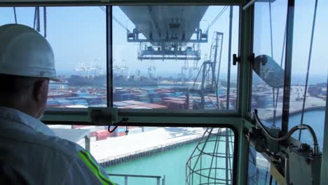 Various-Shots-At-The-Port-Of-Long-Beach-Including-Cranes-And-Containers-7