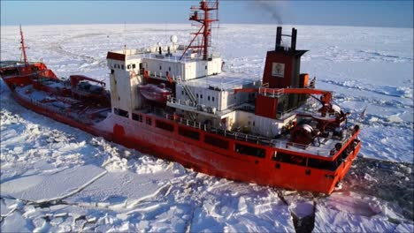 A-Passing-Shot-Of-A-Commercial-Ship-Trapped-In-Ice