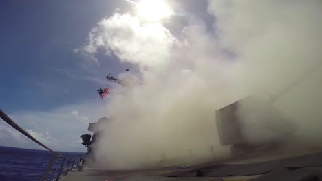 A-Tomahawk-Missile-Is-Fired-From-A-Warship-In-Battle