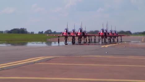 The-Raf-Red-Arrows-Taxiing-At-Fairford-Uk-1