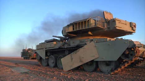 A-Destroyed-Tank-Sits-In-The-Iraq-Desert-1