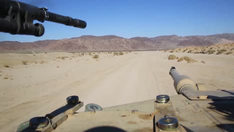 Pov-Of-A-Tank-Moving-Across-The-Afghan-Desert