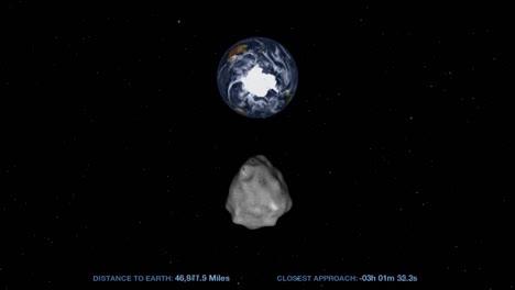 Animación-De-La-NASA-De-Un-Asteroide-Que-Se-Mueve-A-Través-Del-Espacio-Y-Se-Acerca-A-La-Tierra-