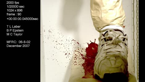 A-Forensics-Crime-Lab-Studies-A-Slow-Motion-Blood-Splatter-Caused-By-A-Shoe