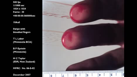 A-Forensics-Crime-Lab-Studies-A-Slow-Motion-Blood-Smear-Caused-By-The-Swipe-Of-A-Hand-Across-Plexiglass