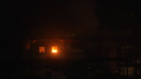 Firefighters-Battle-A-Structure-Blaze-At-Night