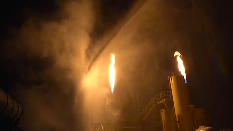 Firefighters-Battle-A-Simulated-Industrial-Fire-At-Night-1