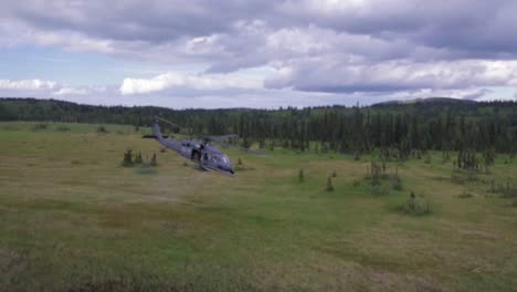 Various-Shots-Of-Blackhawk-Helicopters-Flying-Over-Alaska