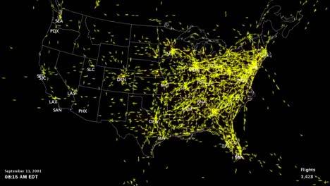 El-Mapa-Animado-Muestra-El-Tráfico-Aéreo-En-Los-Estados-Unidos-En-Un-Día-Normal-Y-La-Disminución-Repentina-El-11-De-Septiembre-De-2001-