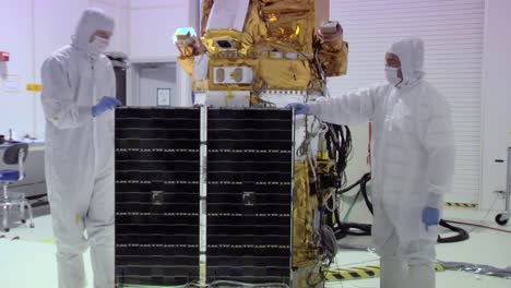 Nasa-Engineers-Work-On-Deep-Space-Solar-Array-In-A-Highly-Controlled-Clean-Room-Environment