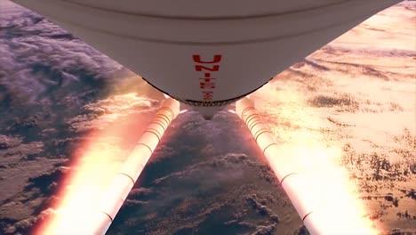 Un-Hermoso-Despegue-Simulado-De-Un-Cohete-A-Través-De-Las-Nubes-1