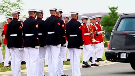 Us-Marine-Honor-Guard-Leads-A-Funeral-For-A-Fallen-Soldier