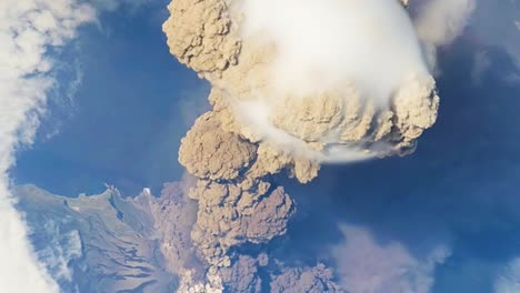 A-Remarkable-Aerial-Shot-Over-The-Sarychev-Volcano-In-Russia-Erupting