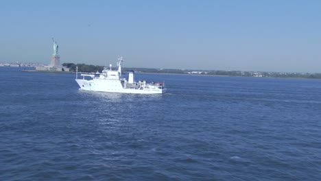 Beautiful-Aerial-In-New-York-Harbor-Of-Noaa-Research-Vessel-Heading-Out-To-Sea