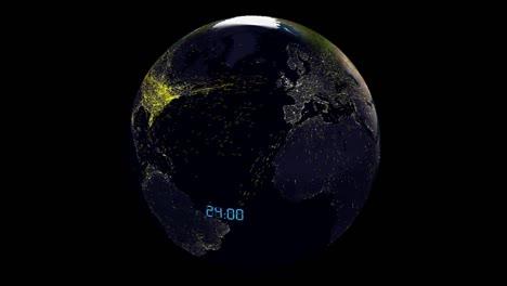 Una-Visualización-Global-Animada-Muestra-El-Tráfico-Aéreo-En-Un-área-Extensa-Durante-Un-Período-De-24-Horas