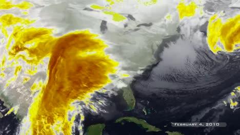 Un-Mapa-Meteorológico-Muestra-Varias-Tormentas-Que-Pasan-Por-La-Costa-Este-De-EE-UU-