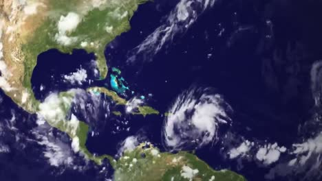 A-Weather-Map-Tracks-Hurricane-Irene-As-It-Crosses-The-Caribbean-In-2014