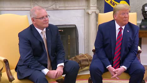 Us-President-Donald-Trump-Sits-With-Australian-Prime-Minister-Scott-Morrison-And-Discusses-How-Easy-It-Would-Be-To-Go-To-War-With-Iran-And-Yet-He-Chooses-Restraint