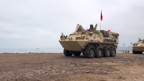 Peruvian-Military-Army-Tanks-Move-Across-A-Beach-In-Lima-Peru