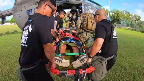 A-Chemical-Spill-Or-Poison-Gas-Attack-Medevac-Simulation-Is-Conducted-By-Us-Army-Personnel