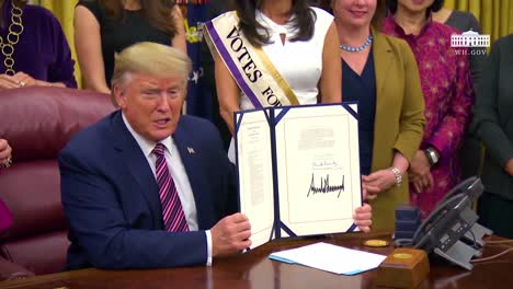 President-Trump-Participates-In-A-Signing-Ceremony-For-The-Womans-Suffrage-Centennial-Coin-Act-Wonders-Aloud-Why-Centennial-Coin-Wasnt-Done-A-Long-Time-Ago
