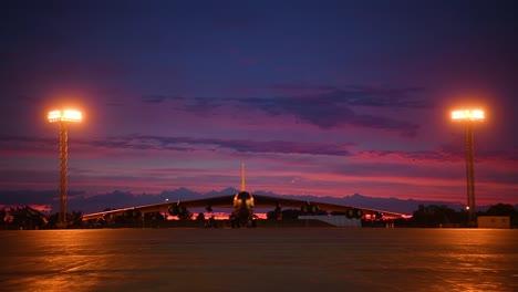 A-Us-Air-Force-B52-Bomber-Sits-On-A-Runway-At-Dusk-Near-Minot-Air-Force-Base-North-Dakota
