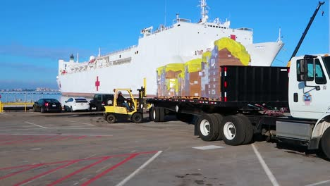 Surgical-Masks-And-Gowns-And-Other-Protective-Medical-Supplies-Are-Trucked-To-The-Us-Navy-Mercy-Hostpital-Ship-During-Covid19-Coronavirus-Outbreak-Epidemic-1