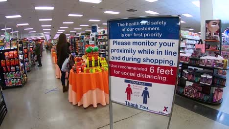 Shoppers-Are-Advised-To-Maintain-Social-Distancing-And-An-X-Is-Placed-On-Floor-To-Maintain-Distance-During-The-Coronavirus-Covid19-Pandemic-Outbreak