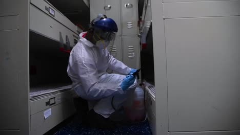 Sailors-Aboard-The-Aircraft-Carrier-Uss-Theodore-Roosevelt-Clean-Various-Spaces-With-Disinfectant-Bleach-During-The-Coronavirus-Covid19-Pandemic-Epidemic-Outbreak-1