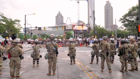 Massive-Street-Civil-Unrest-Protests-Break-Out-In-Atlanta-During-The-George-Floyd-Black-Lives-Matter-Protests-As-The-National-Guard-Looks-On