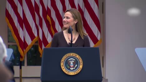 Supreme-Court-Justice-Nominee-Amy-Coney-Barrett-Speaks-In-The-White-House-Rose-Garden-Which-Became-A-Covid-19-Coronavirus-Superspreader-Event