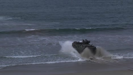 Us-Marines-Practice-An-Assault-Amphibious-Vehicle-Landing-At-Red-Beach-Camp-Pendleton-California