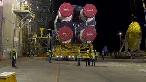 Nasa-the-First-Core-Stage-Of-A-Rocket-Being-Erected-At-the-Stennis-Space-Center