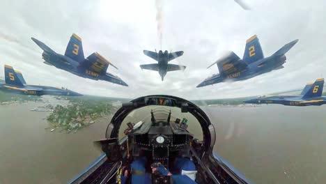 A-View-From-the-Cockpit-Of-the-Us-Navy-Flight-Demonstration-Squadron-the-Blue-Angels-In-Action