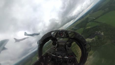 F16-Viper-And-51-Mustang-From-Cockpit-Of-A10-thunderbolt-During-A-Heritage-Flight-Over-Sumter-South-Carolina