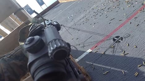 Helmet-Cam-Pov-Us-Marines-Fire-Automatice-Weapons-Fast-Rope-Attack-Exercise-On-An-Amphibious-Assault-Ship-1