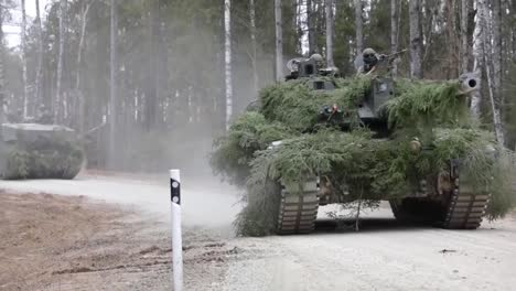 Nato-Forward-Presence-Battlegroup-Estonia-Tanks-And-Personnel-On-A-Military-Training-Exercise-Estonia