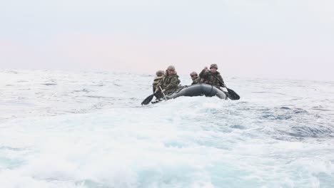 Us-Marines-Practice-Launch-And-Recovery-Drills-With-Rubber-Raiding-Craft-From-A-Ship-In-the-Philippine-Sea