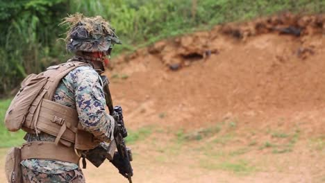 Us-Marines-In-Military-Camouflage-Fire-Weapons-During-Combat-Marksmanship-Training-Exercise-Camp-Schwab-Japan